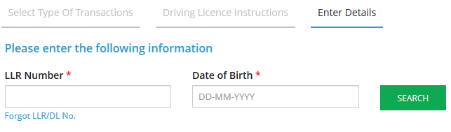 AP New Driving License using LLR Number